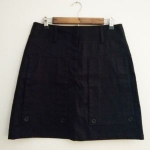 Theory A-Line Button Skirt Black Stretch Twill